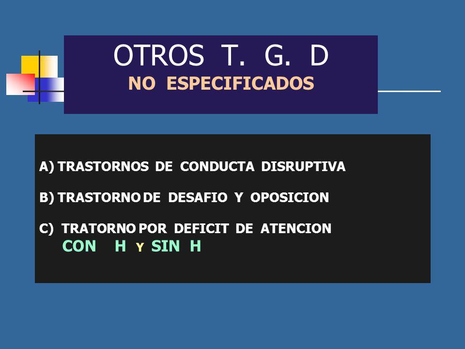 OTROS T. G. D NO ESPECIFICADOS A) TRASTORNOS DE CONDUCTA DISRUPTIVA B) TRASTORNO DE DESAFIO Y OPOSICION C) TRATORNO POR DEFICIT DE ATENCION CON H Y SI