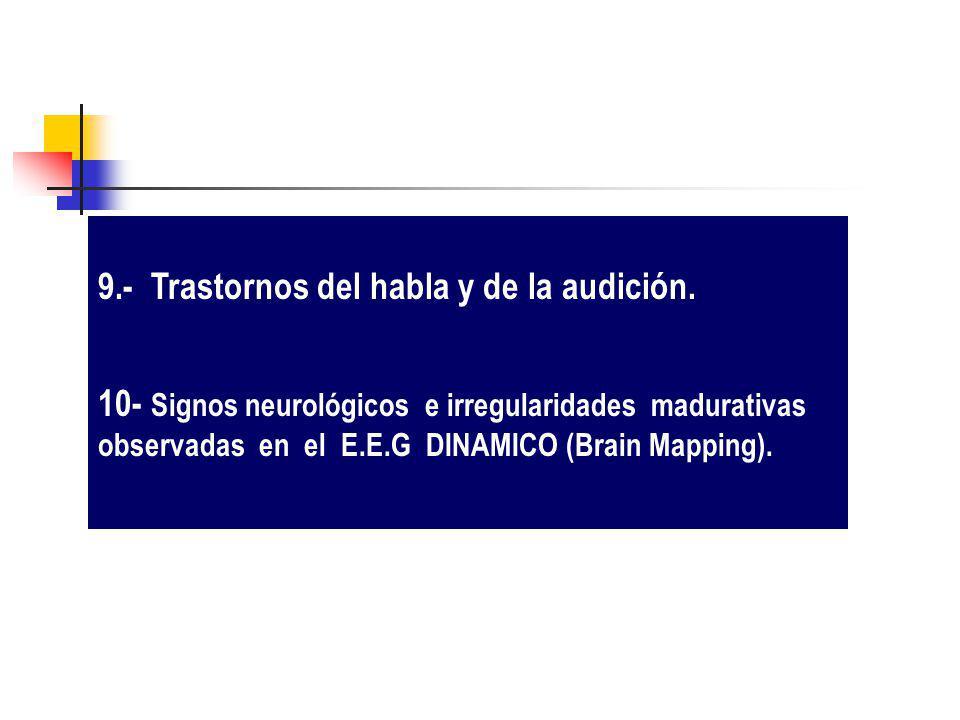 9.- Trastornos del habla y de la audición. 10- Signos neurológicos e irregularidades madurativas observadas en el E.E.G DINAMICO (Brain Mapping).