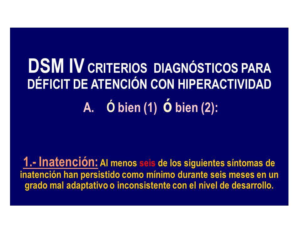 DSM IV CRITERIOS DIAGNÓSTICOS PARA DÉFICIT DE ATENCIÓN CON HIPERACTIVIDAD A. Ó bien (1) ó bien (2): 1.- Inatención: Al menos seis de los siguientes sí