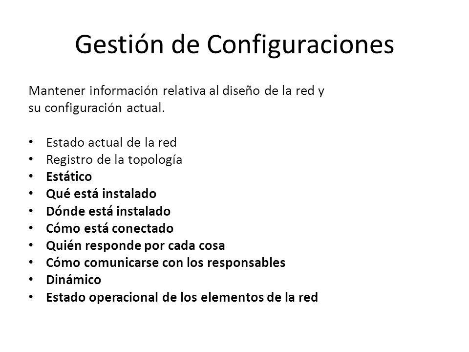 Gestión de Configuraciones Mantener información relativa al diseño de la red y su configuración actual. Estado actual de la red Registro de la topolog