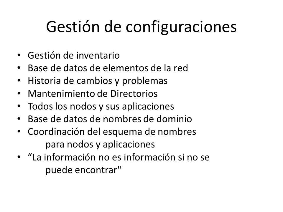 Gestión de configuraciones Gestión de inventario Base de datos de elementos de la red Historia de cambios y problemas Mantenimiento de Directorios Todos los nodos y sus aplicaciones Base de datos de nombres de dominio Coordinación del esquema de nombres para nodos y aplicaciones La información no es información si no se puede encontrar