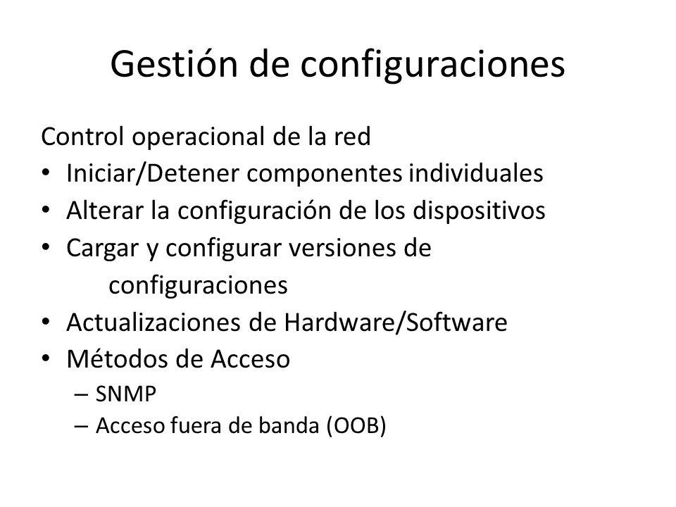 Gestión de configuraciones Control operacional de la red Iniciar/Detener componentes individuales Alterar la configuración de los dispositivos Cargar y configurar versiones de configuraciones Actualizaciones de Hardware/Software Métodos de Acceso – SNMP – Acceso fuera de banda (OOB)