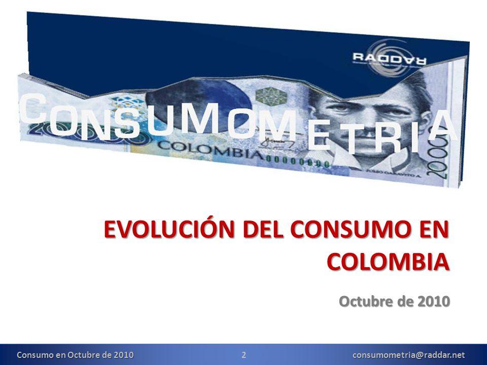 EVOLUCIÓN DEL CONSUMO EN COLOMBIA Octubre de 2010 2consumometria@raddar.net Consumo en Octubre de 2010