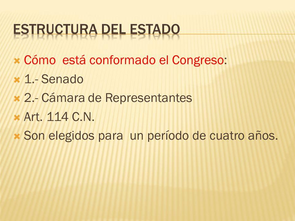Cómo está conformado el Congreso: 1.- Senado 2.- Cámara de Representantes Art. 114 C.N. Son elegidos para un período de cuatro años.