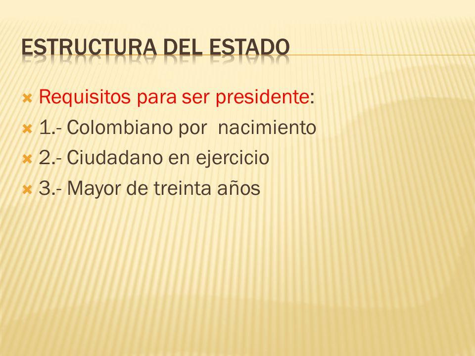 Requisitos para ser presidente: 1.- Colombiano por nacimiento 2.- Ciudadano en ejercicio 3.- Mayor de treinta años