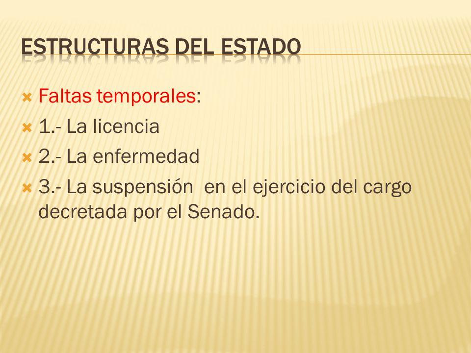 Faltas temporales: 1.- La licencia 2.- La enfermedad 3.- La suspensión en el ejercicio del cargo decretada por el Senado.