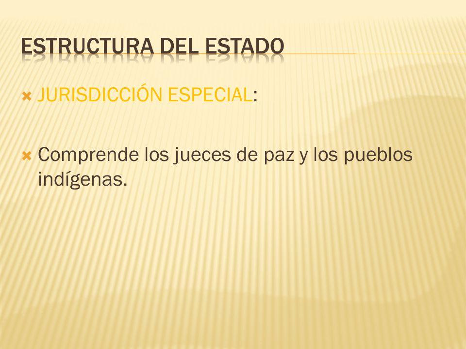 JURISDICCIÓN ESPECIAL: Comprende los jueces de paz y los pueblos indígenas.