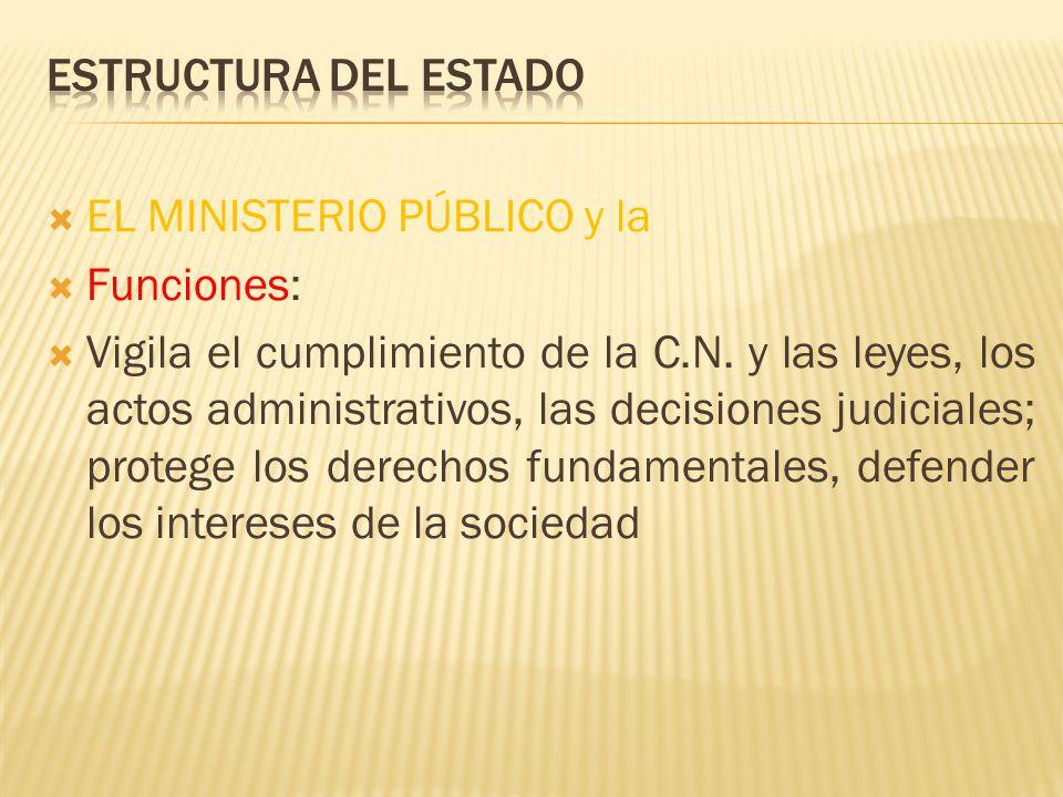 EL MINISTERIO PÚBLICO y la Funciones: Vigila el cumplimiento de la C.N. y las leyes, los actos administrativos, las decisiones judiciales; protege los