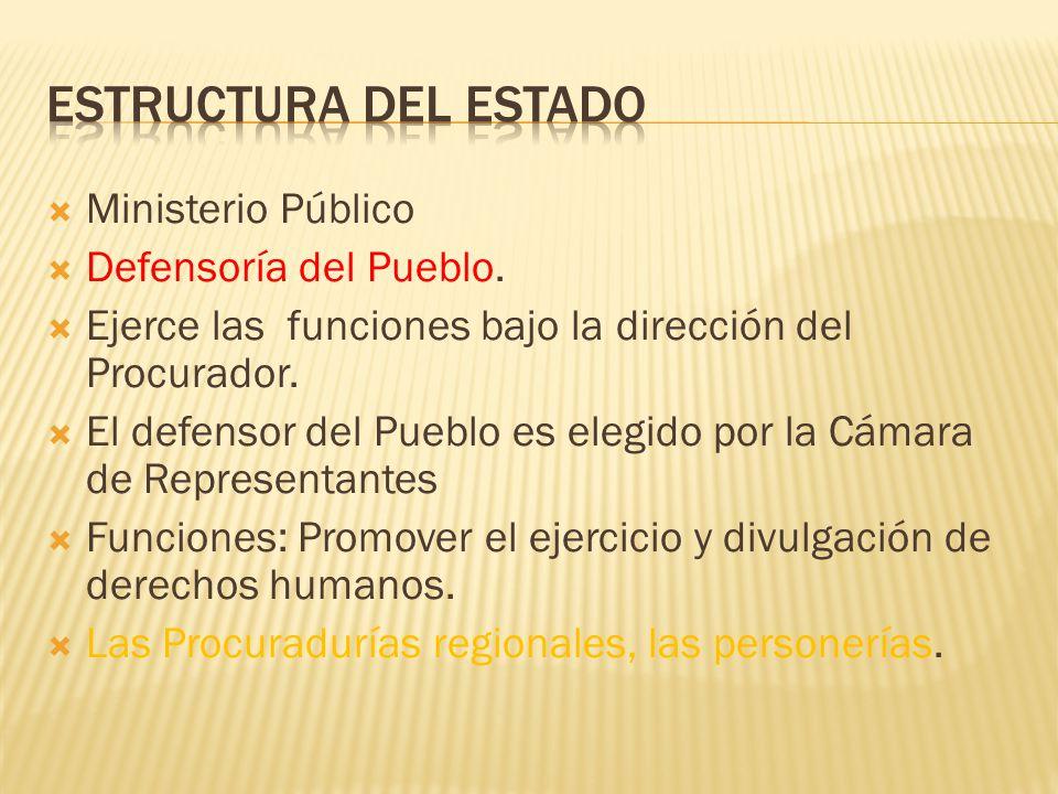 Ministerio Público Defensoría del Pueblo. Ejerce las funciones bajo la dirección del Procurador. El defensor del Pueblo es elegido por la Cámara de Re