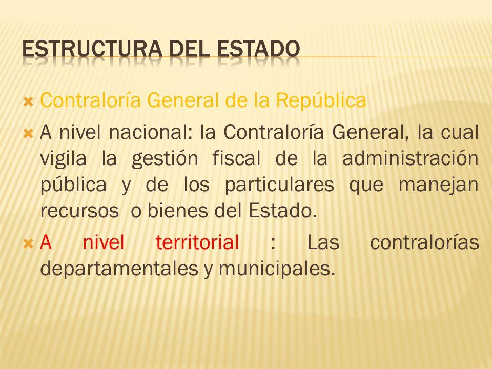 Contraloría General de la República A nivel nacional: la Contraloría General, la cual vigila la gestión fiscal de la administración pública y de los p