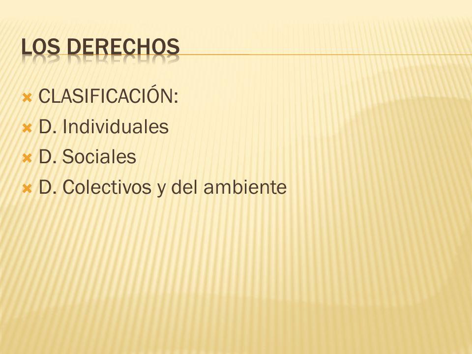 CLASIFICACIÓN: D. Individuales D. Sociales D. Colectivos y del ambiente