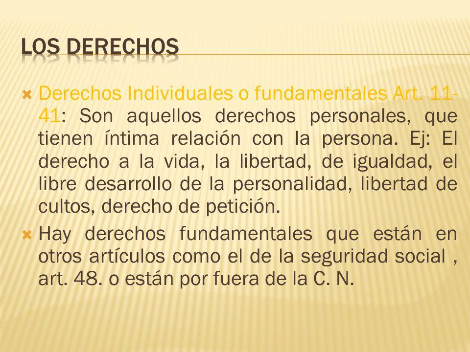 Derechos Individuales o fundamentales Art. 11- 41: Son aquellos derechos personales, que tienen íntima relación con la persona. Ej: El derecho a la vi