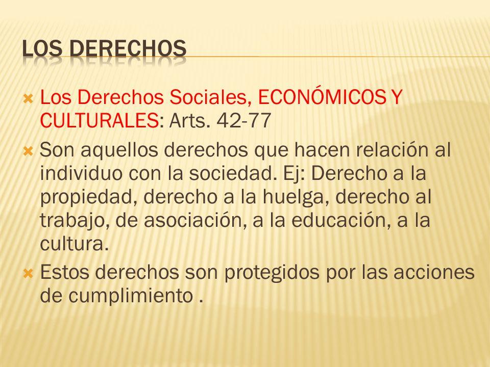 Los Derechos Sociales, ECONÓMICOS Y CULTURALES: Arts. 42-77 Son aquellos derechos que hacen relación al individuo con la sociedad. Ej: Derecho a la pr