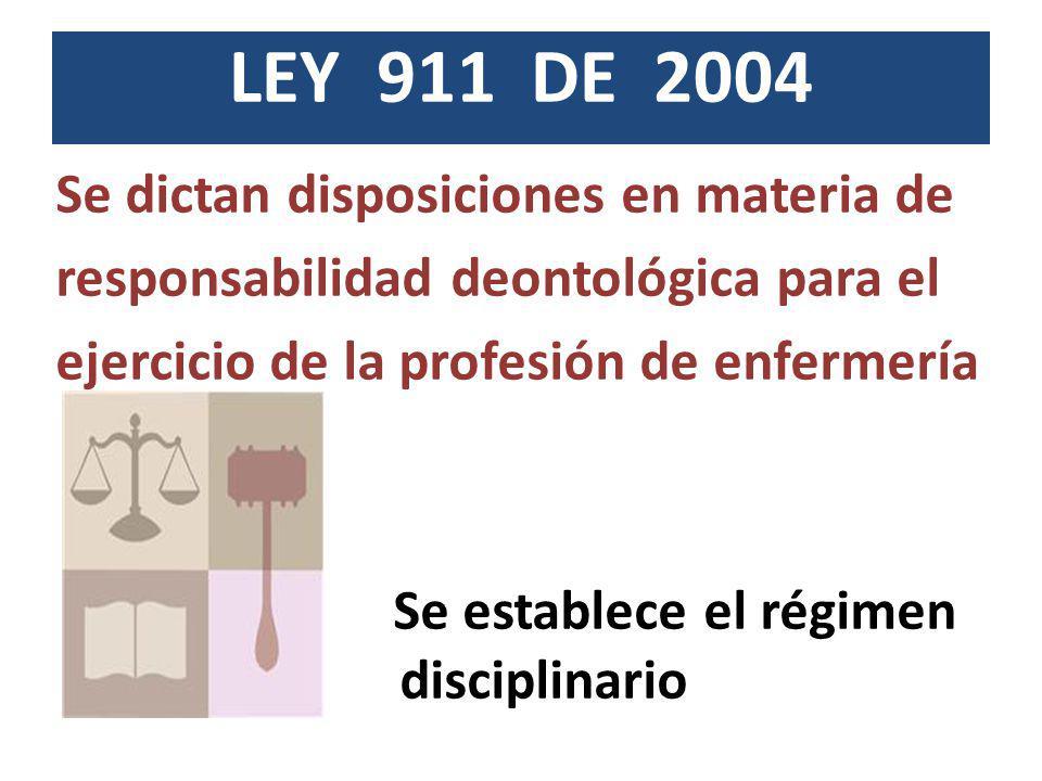 LEY 911 DE 2004 Se dictan disposiciones en materia de responsabilidad deontológica para el ejercicio de la profesión de enfermería Se establece el rég