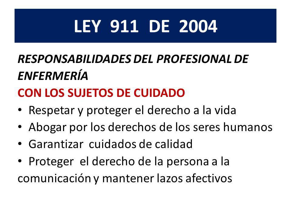 LEY 911 DE 2004 Responsabilidad con sus colegas y otros miembros del recurso humano en salud Con las instituciones y la sociedad En la investigación y la docencia Con los registros de enfermería