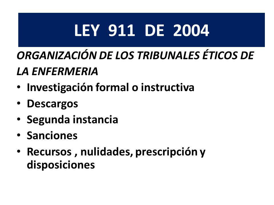LEY 911 DE 2004 ORGANIZACIÓN DE LOS TRIBUNALES ÉTICOS DE LA ENFERMERIA Investigación formal o instructiva Descargos Segunda instancia Sanciones Recurs