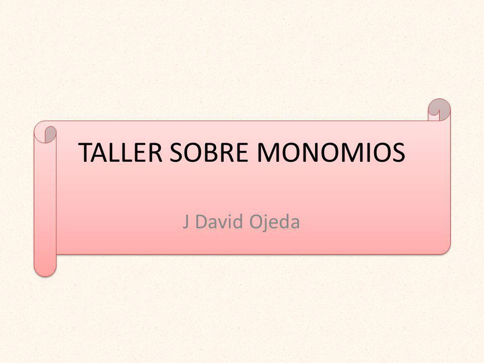 TALLER SOBRE MONOMIOS J David Ojeda