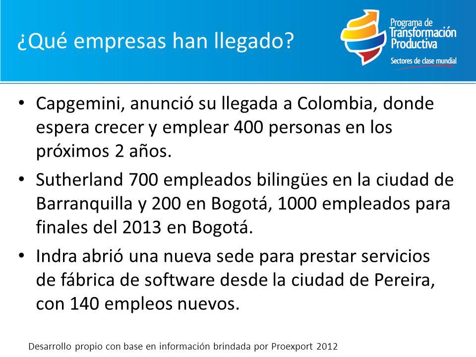 Capgemini, anunció su llegada a Colombia, donde espera crecer y emplear 400 personas en los próximos 2 años. Sutherland 700 empleados bilingües en la