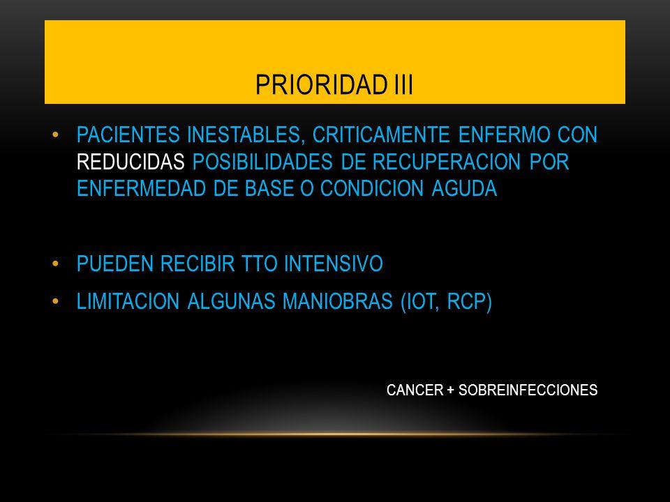 PRIORIDAD III PACIENTES INESTABLES, CRITICAMENTE ENFERMO CON REDUCIDAS POSIBILIDADES DE RECUPERACION POR ENFERMEDAD DE BASE O CONDICION AGUDA PUEDEN R
