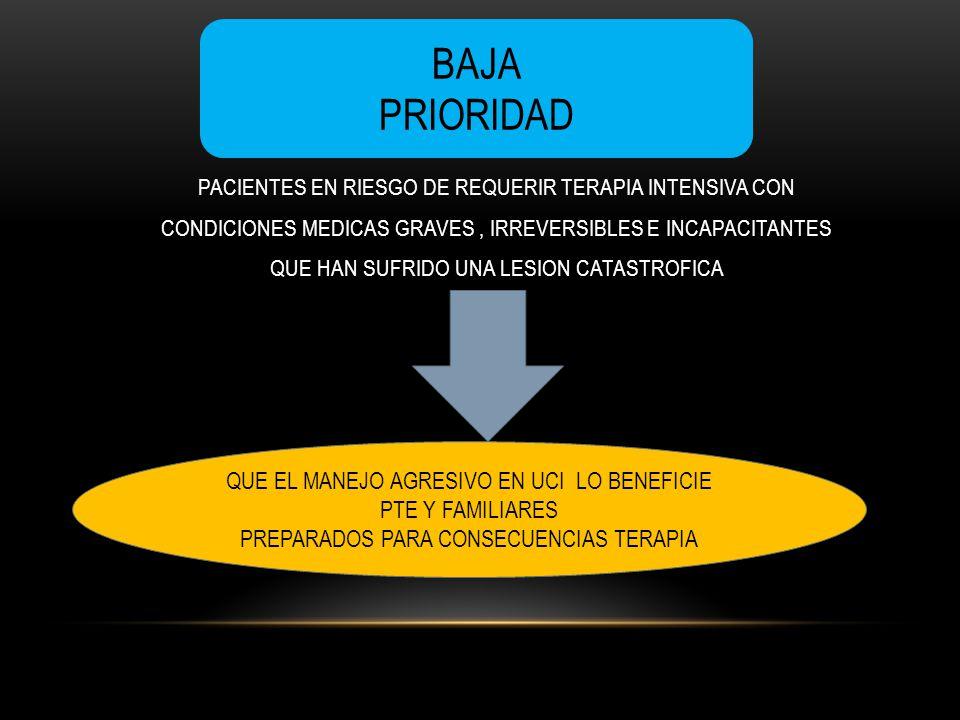PACIENTES EN RIESGO DE REQUERIR TERAPIA INTENSIVA CON CONDICIONES MEDICAS GRAVES, IRREVERSIBLES E INCAPACITANTES QUE HAN SUFRIDO UNA LESION CATASTROFI