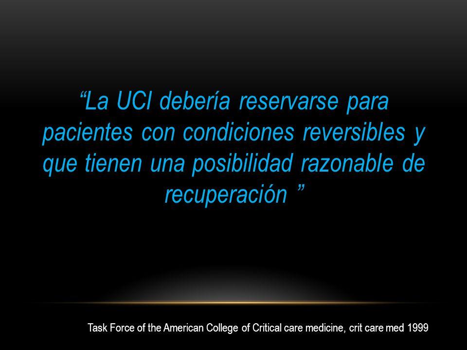 La UCI debería reservarse para pacientes con condiciones reversibles y que tienen una posibilidad razonable de recuperación Task Force of the American