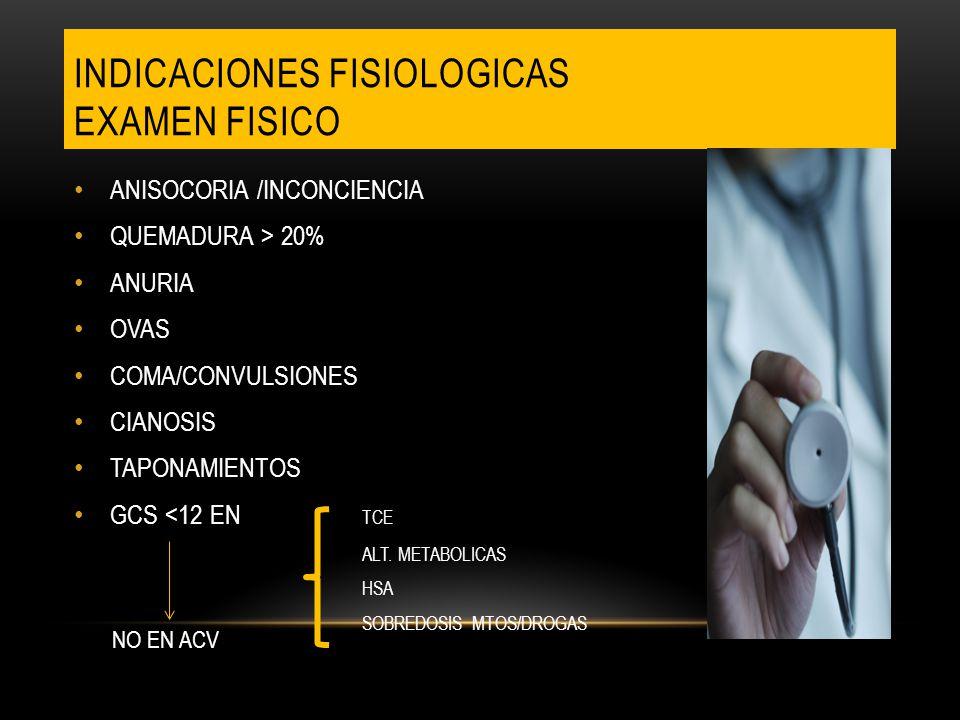 INDICACIONES FISIOLOGICAS EXAMEN FISICO ANISOCORIA /INCONCIENCIA QUEMADURA > 20% ANURIA OVAS COMA/CONVULSIONES CIANOSIS TAPONAMIENTOS GCS <12 EN TCE A