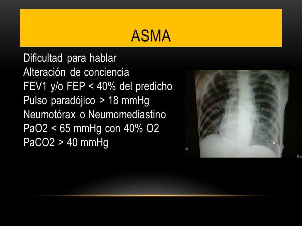 ASMA Dificultad para hablar Alteración de conciencia FEV1 y/o FEP 18 mmHg Neumotórax o Neumomediastino PaO2 40 mmHg