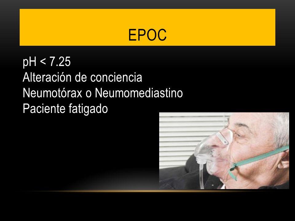 EPOC pH < 7.25 Alteración de conciencia Neumotórax o Neumomediastino Paciente fatigado