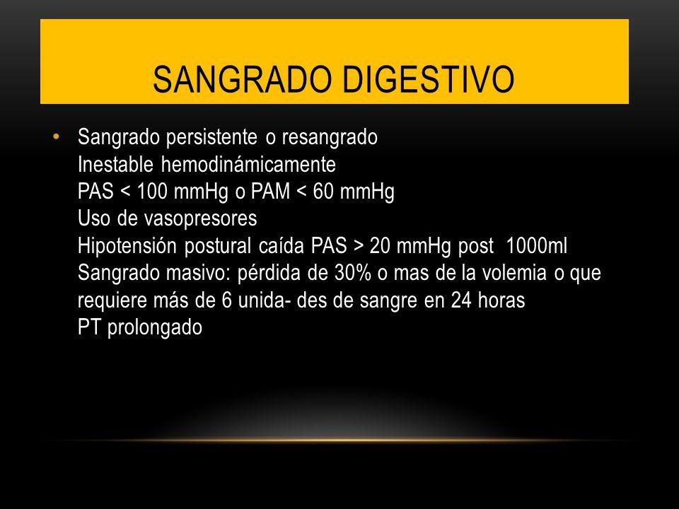 Sangrado persistente o resangrado Inestable hemodinámicamente PAS 20 mmHg post 1000ml Sangrado masivo: pérdida de 30% o mas de la volemia o que requie