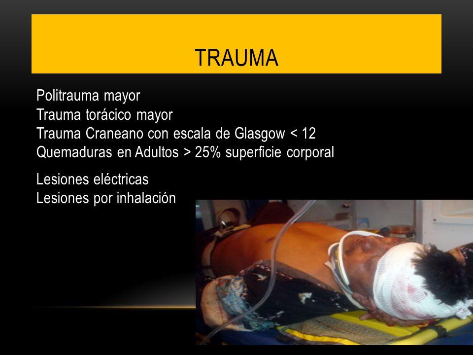 TRAUMA Politrauma mayor Trauma torácico mayor Trauma Craneano con escala de Glasgow 25% superficie corporal Lesiones eléctricas Lesiones por inhalació