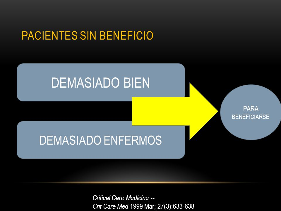 PACIENTES SIN BENEFICIO DEMASIADO BIEN DEMASIADO ENFERMOS PARA BENEFICIARSE Critical Care Medicine -- Crit Care Med 1999 Mar; 27(3):633-638