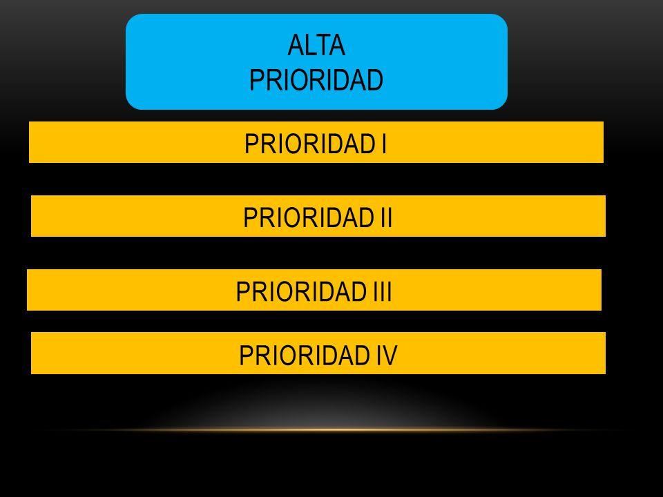 ALTA PRIORIDAD PRIORIDAD II PRIORIDAD I PRIORIDAD IV PRIORIDAD III