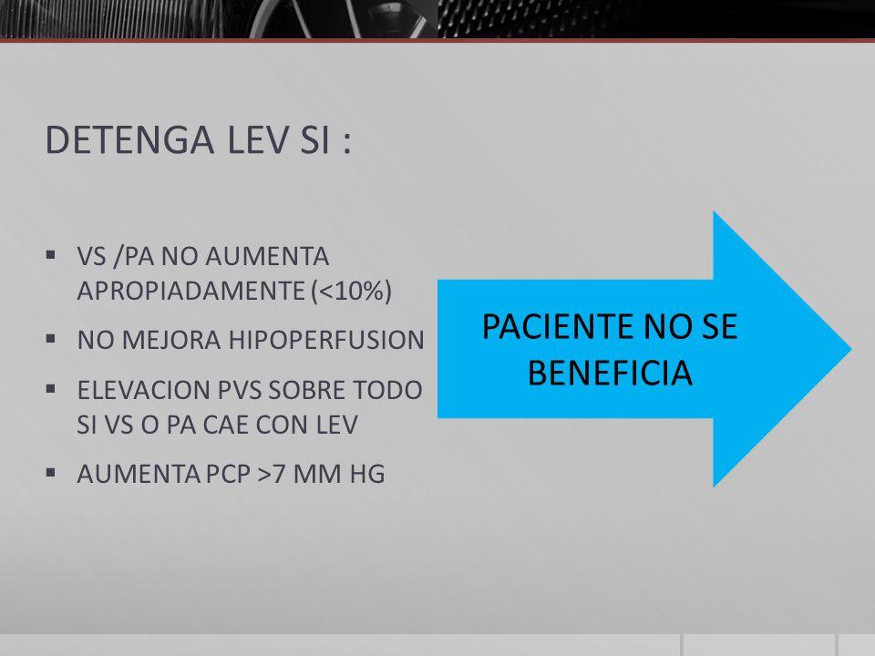 DETENGA LEV SI : VS /PA NO AUMENTA APROPIADAMENTE (<10%) NO MEJORA HIPOPERFUSION ELEVACION PVS SOBRE TODO SI VS O PA CAE CON LEV AUMENTA PCP >7 MM HG PACIENTE NO SE BENEFICIA
