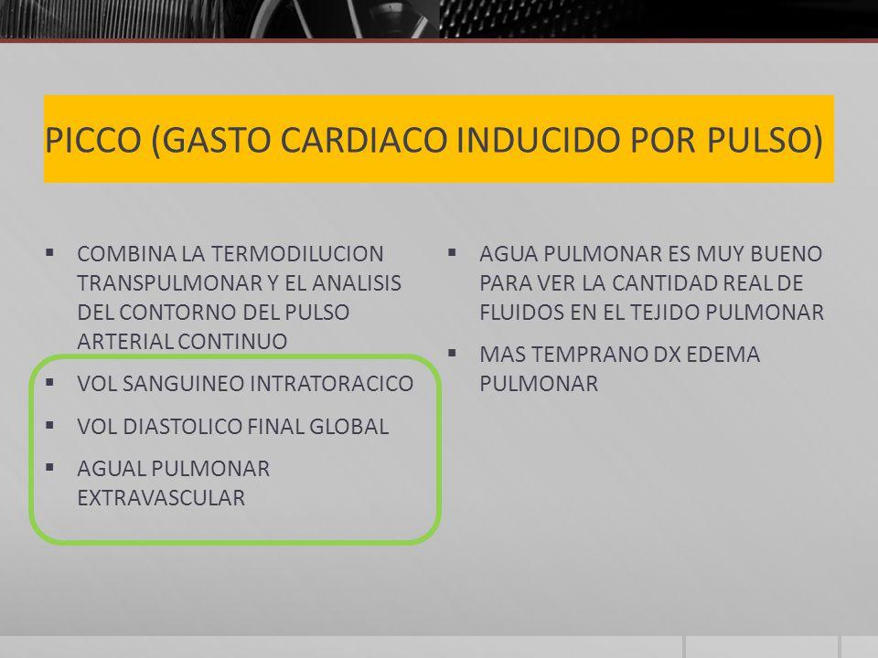 PICCO (GASTO CARDIACO INDUCIDO POR PULSO) COMBINA LA TERMODILUCION TRANSPULMONAR Y EL ANALISIS DEL CONTORNO DEL PULSO ARTERIAL CONTINUO VOL SANGUINEO INTRATORACICO VOL DIASTOLICO FINAL GLOBAL AGUAL PULMONAR EXTRAVASCULAR AGUA PULMONAR ES MUY BUENO PARA VER LA CANTIDAD REAL DE FLUIDOS EN EL TEJIDO PULMONAR MAS TEMPRANO DX EDEMA PULMONAR
