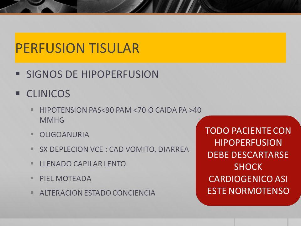 PERFUSION TISULAR SIGNOS DE HIPOPERFUSION CLINICOS HIPOTENSION PAS 40 MMHG OLIGOANURIA SX DEPLECION VCE : CAD VOMITO, DIARREA LLENADO CAPILAR LENTO PIEL MOTEADA ALTERACION ESTADO CONCIENCIA TODO PACIENTE CON HIPOPERFUSION DEBE DESCARTARSE SHOCK CARDIOGENICO ASI ESTE NORMOTENSO