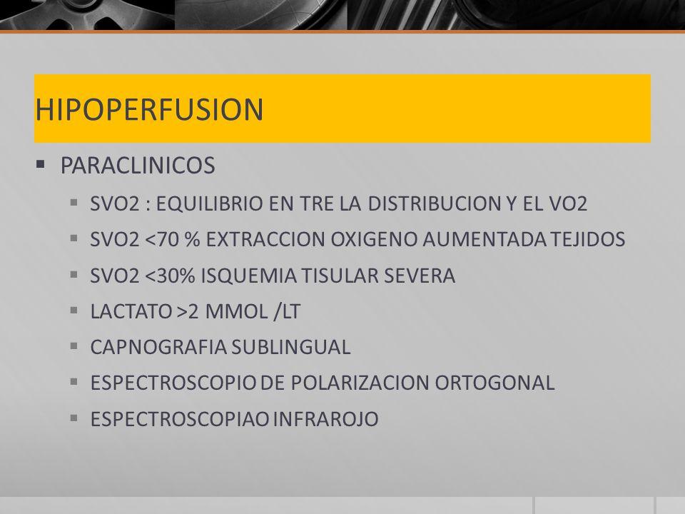 HIPOPERFUSION PARACLINICOS SVO2 : EQUILIBRIO EN TRE LA DISTRIBUCION Y EL VO2 SVO2 <70 % EXTRACCION OXIGENO AUMENTADA TEJIDOS SVO2 <30% ISQUEMIA TISULAR SEVERA LACTATO >2 MMOL /LT CAPNOGRAFIA SUBLINGUAL ESPECTROSCOPIO DE POLARIZACION ORTOGONAL ESPECTROSCOPIAO INFRAROJO