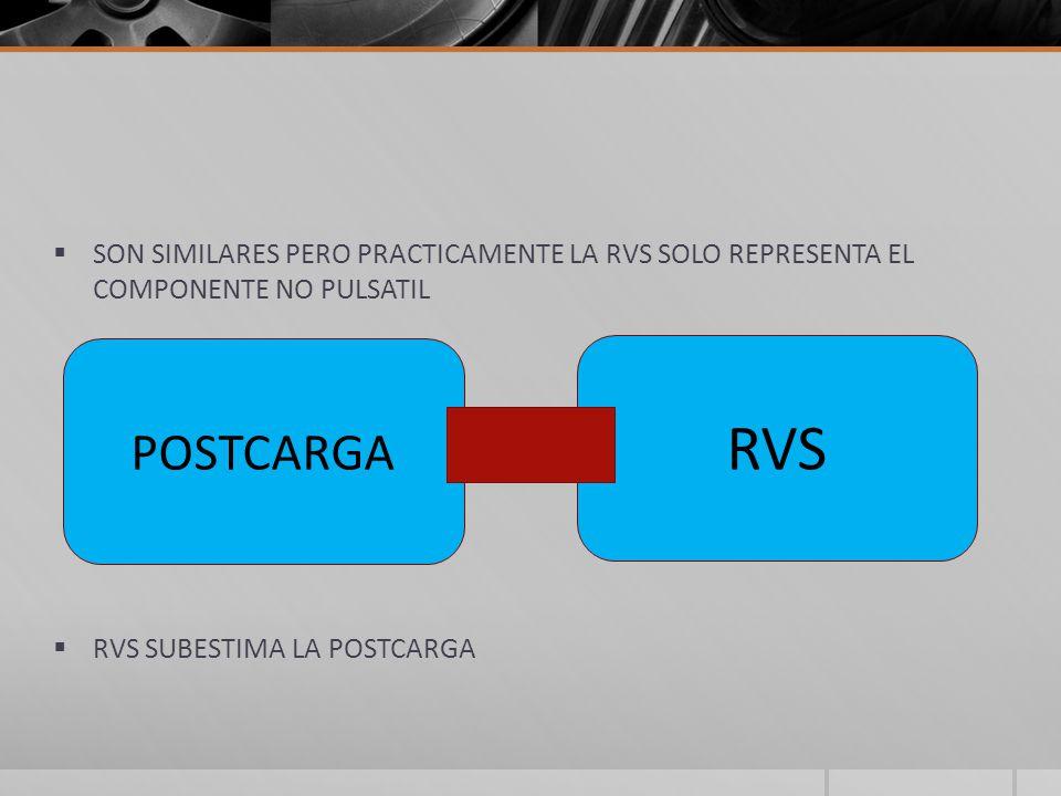 SON SIMILARES PERO PRACTICAMENTE LA RVS SOLO REPRESENTA EL COMPONENTE NO PULSATIL RVS SUBESTIMA LA POSTCARGA POSTCARGA RVS