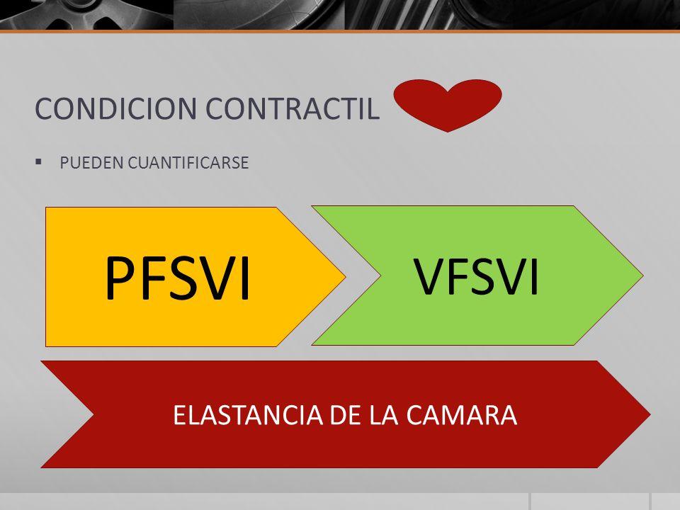 CONDICION CONTRACTIL PUEDEN CUANTIFICARSE PFSVI VFSVI ELASTANCIA DE LA CAMARA
