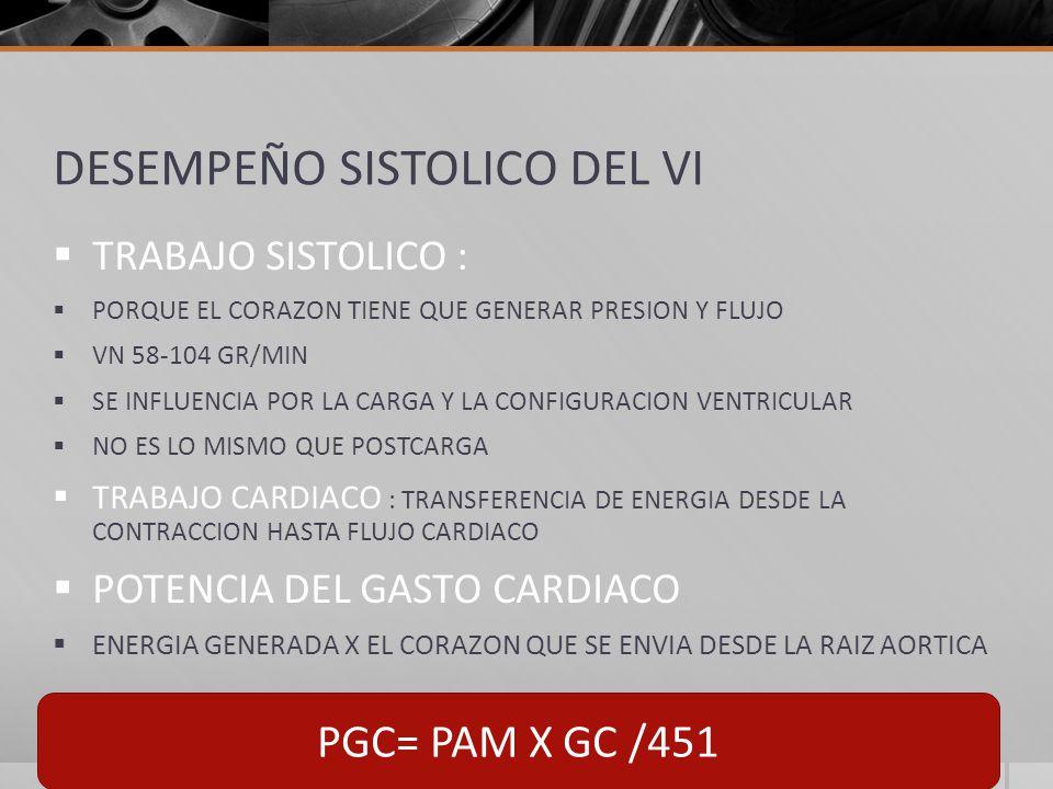 DESEMPEÑO SISTOLICO DEL VI TRABAJO SISTOLICO : PORQUE EL CORAZON TIENE QUE GENERAR PRESION Y FLUJO VN 58-104 GR/MIN SE INFLUENCIA POR LA CARGA Y LA CONFIGURACION VENTRICULAR NO ES LO MISMO QUE POSTCARGA TRABAJO CARDIACO : TRANSFERENCIA DE ENERGIA DESDE LA CONTRACCION HASTA FLUJO CARDIACO POTENCIA DEL GASTO CARDIACO ENERGIA GENERADA X EL CORAZON QUE SE ENVIA DESDE LA RAIZ AORTICA PGC= PAM X GC /451