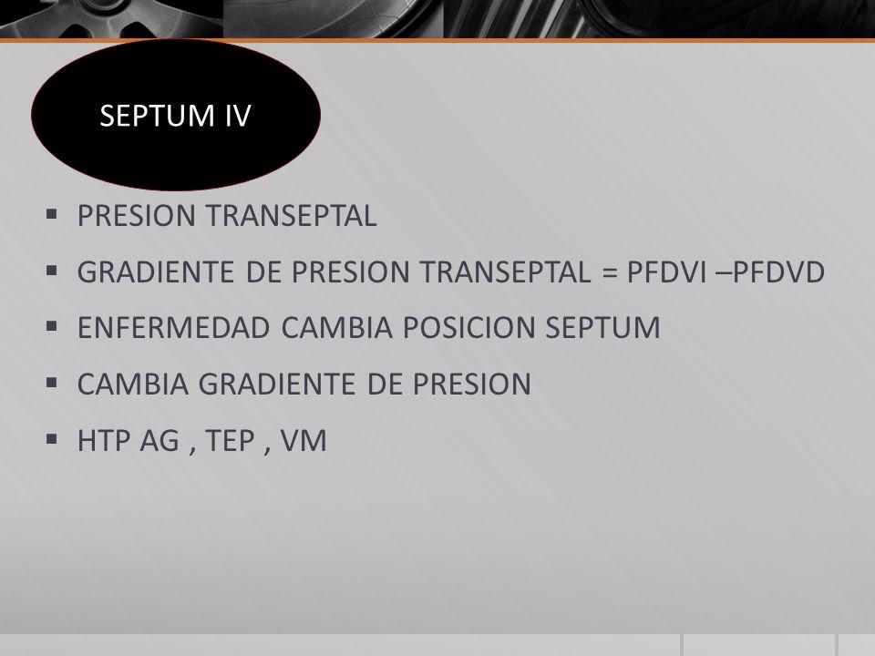 PRESION TRANSEPTAL GRADIENTE DE PRESION TRANSEPTAL = PFDVI –PFDVD ENFERMEDAD CAMBIA POSICION SEPTUM CAMBIA GRADIENTE DE PRESION HTP AG, TEP, VM SEPTUM IV