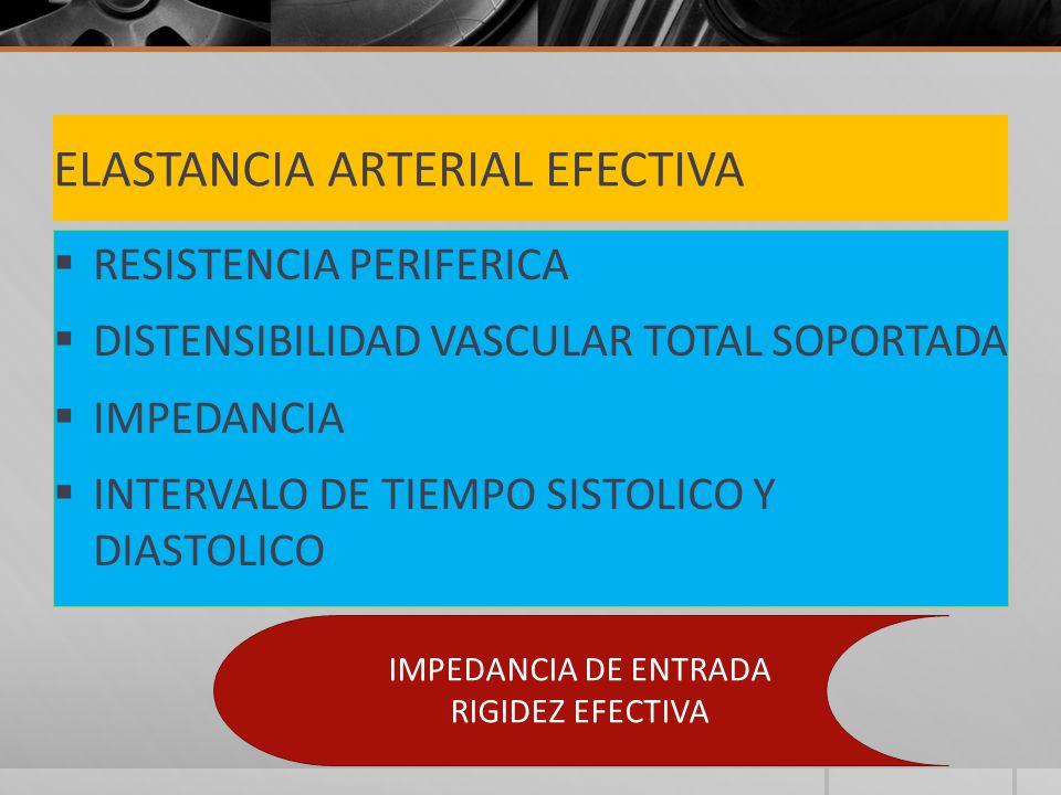 ELASTANCIA ARTERIAL EFECTIVA RESISTENCIA PERIFERICA DISTENSIBILIDAD VASCULAR TOTAL SOPORTADA IMPEDANCIA INTERVALO DE TIEMPO SISTOLICO Y DIASTOLICO IMPEDANCIA DE ENTRADA RIGIDEZ EFECTIVA