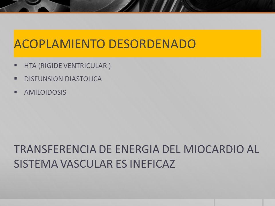 ACOPLAMIENTO DESORDENADO HTA (RIGIDE VENTRICULAR ) DISFUNSION DIASTOLICA AMILOIDOSIS TRANSFERENCIA DE ENERGIA DEL MIOCARDIO AL SISTEMA VASCULAR ES INEFICAZ