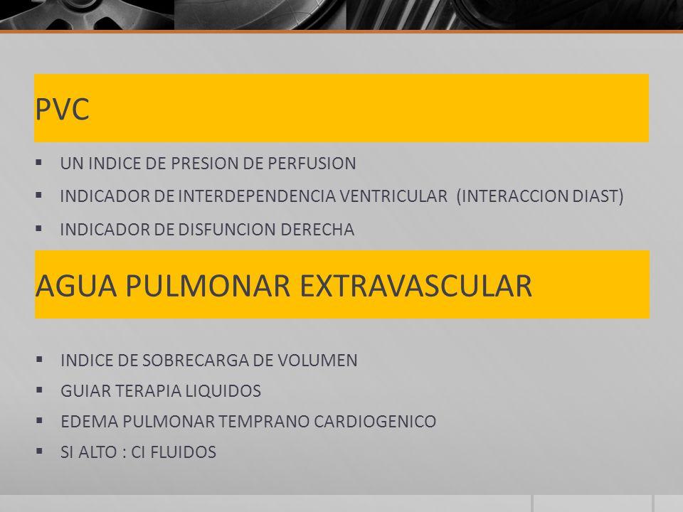 PVC UN INDICE DE PRESION DE PERFUSION INDICADOR DE INTERDEPENDENCIA VENTRICULAR (INTERACCION DIAST) INDICADOR DE DISFUNCION DERECHA AGUA PULMONAR EXTRAVASCULAR INDICE DE SOBRECARGA DE VOLUMEN GUIAR TERAPIA LIQUIDOS EDEMA PULMONAR TEMPRANO CARDIOGENICO SI ALTO : CI FLUIDOS