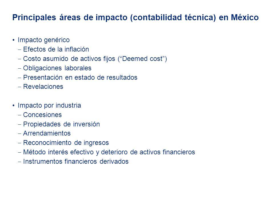Principales áreas de impacto (contabilidad técnica) en México Impacto genérico Efectos de la inflación Costo asumido de activos fijos (Deemed cost) Ob