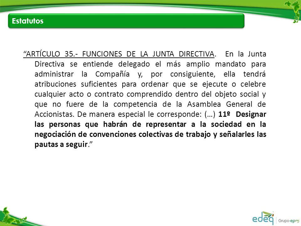 Estatutos ARTÍCULO 35.- FUNCIONES DE LA JUNTA DIRECTIVA.