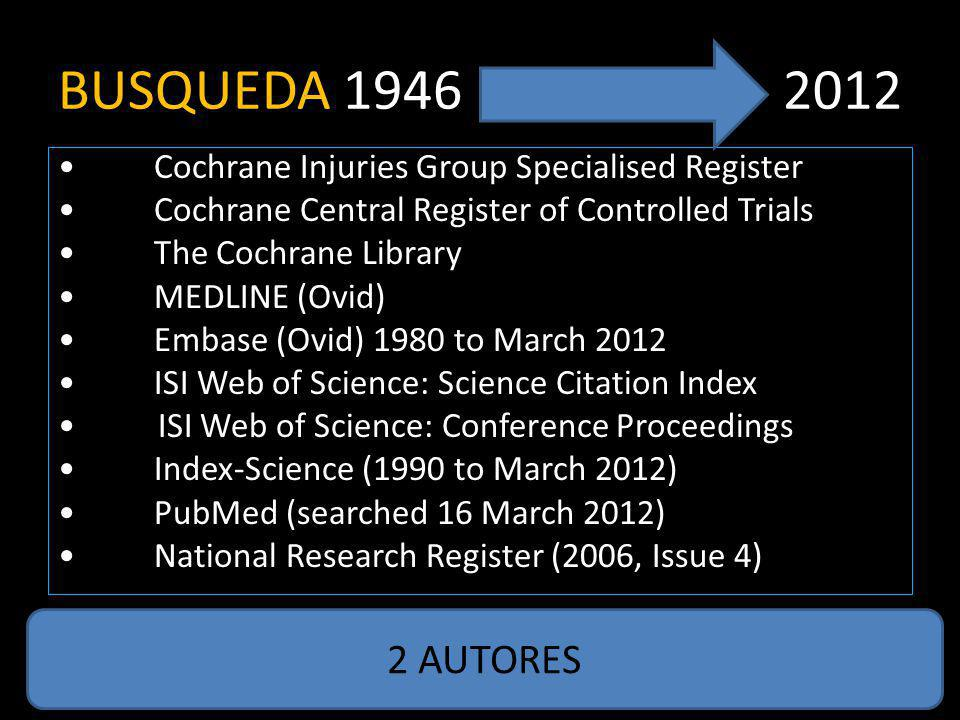 BUSQUEDA 1946 2012 Cochrane Injuries Group Specialised Register Cochrane Central Register of Controlled Trials The Cochrane Library MEDLINE (Ovid) Embase (Ovid) 1980 to March 2012 ISI Web of Science: Science Citation Index ISI Web of Science: Conference Proceedings Index-Science (1990 to March 2012) PubMed (searched 16 March 2012) National Research Register (2006, Issue 4) 2 AUTORES