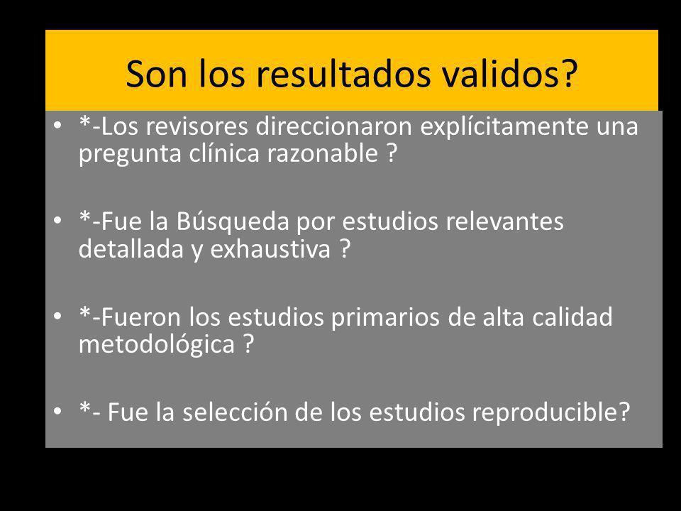 Son los resultados validos? *-Los revisores direccionaron explícitamente una pregunta clínica razonable ? *-Fue la Búsqueda por estudios relevantes de