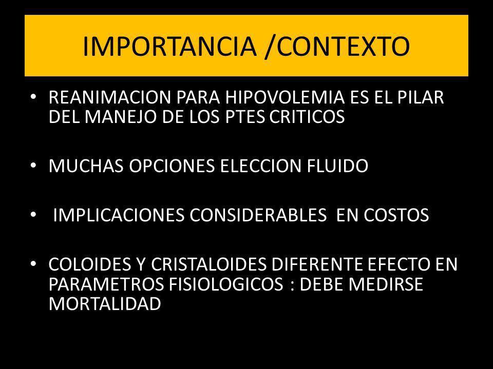 REANIMACION PARA HIPOVOLEMIA ES EL PILAR DEL MANEJO DE LOS PTES CRITICOS MUCHAS OPCIONES ELECCION FLUIDO IMPLICACIONES CONSIDERABLES EN COSTOS COLOIDE