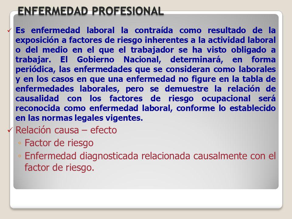 ENFERMEDAD PROFESIONAL Es enfermedad laboral la contraída como resultado de la exposición a factores de riesgo inherentes a la actividad laboral o del