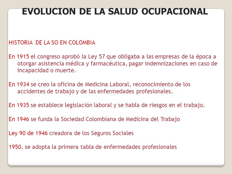 HISTORIA DE LA SO EN COLOMBIA En 1915 el congreso aprobó la Ley 57 que obligaba a las empresas de la época a otorgar asistencia médica y farmacéutica,